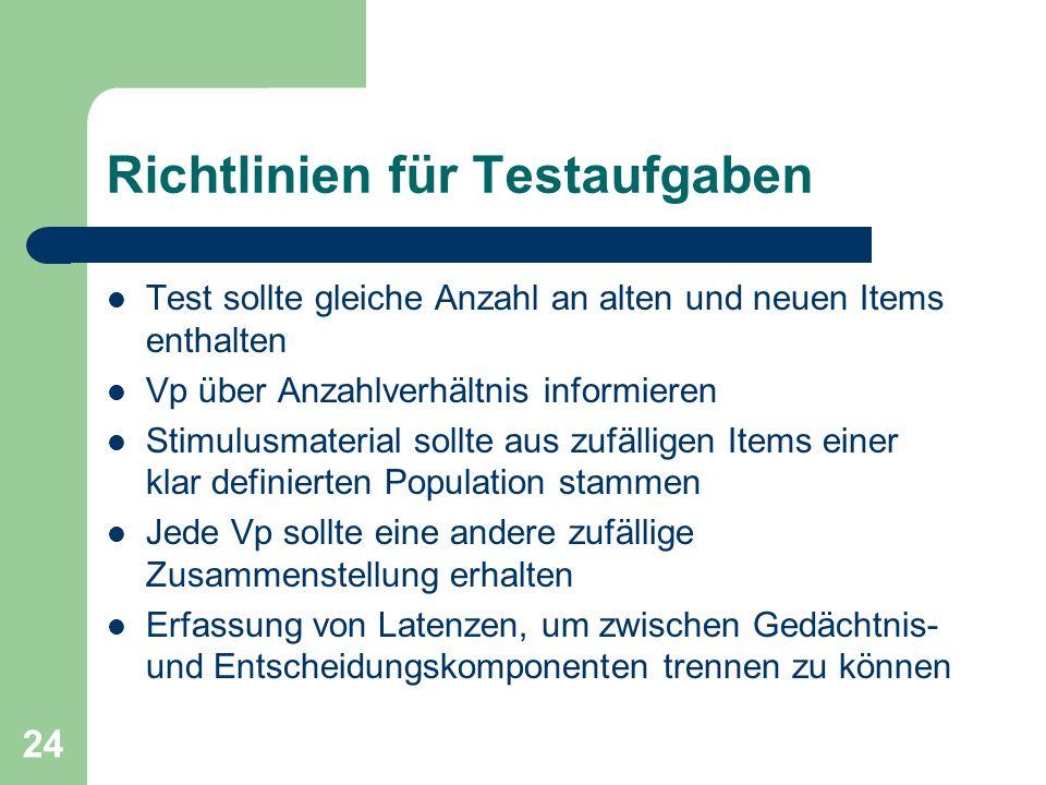 Richtlinien für Testaufgaben