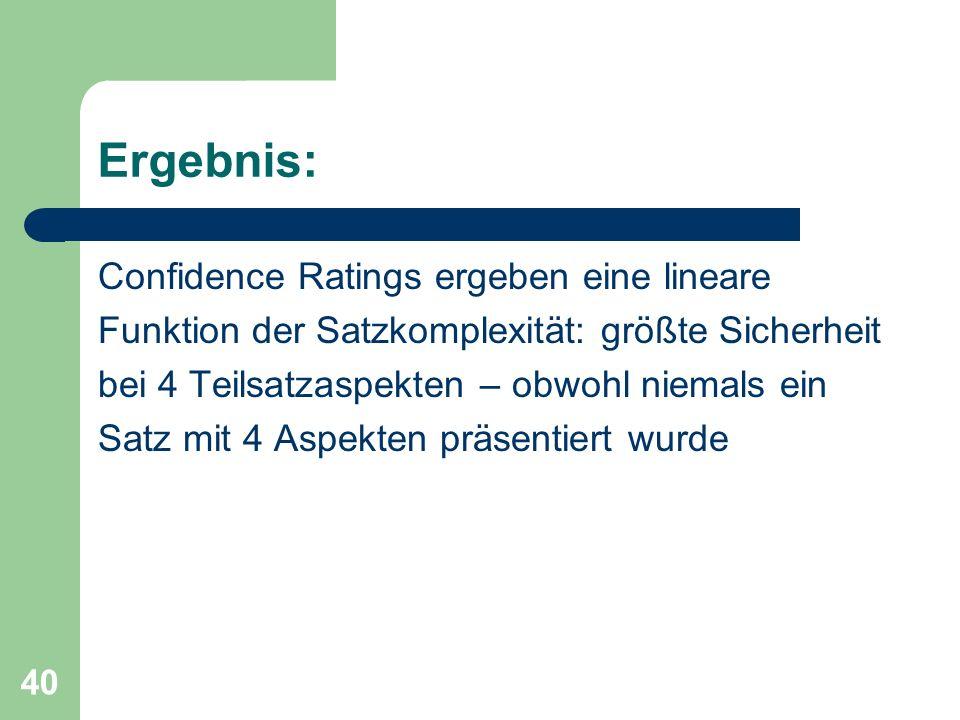 Ergebnis: Confidence Ratings ergeben eine lineare