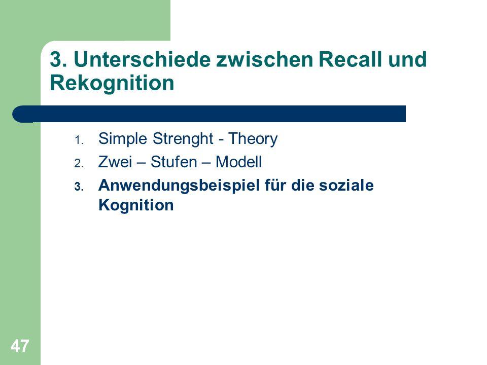 3. Unterschiede zwischen Recall und Rekognition