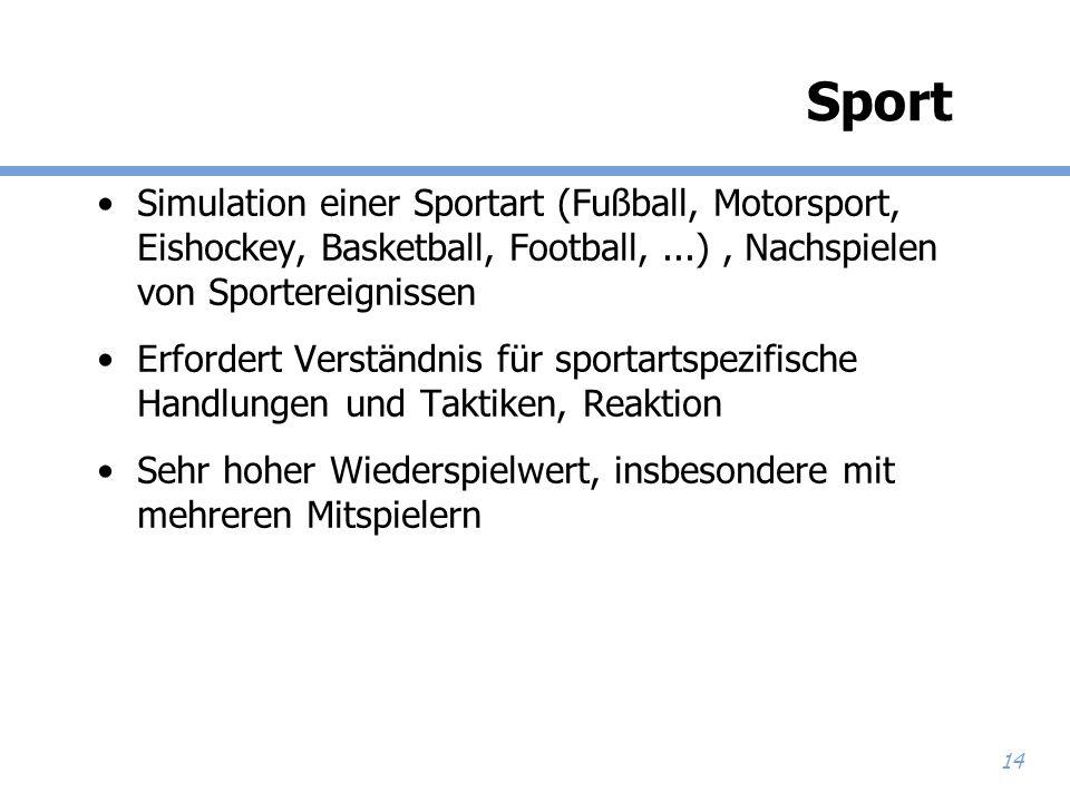 Sport Simulation einer Sportart (Fußball, Motorsport, Eishockey, Basketball, Football, ...) , Nachspielen von Sportereignissen.