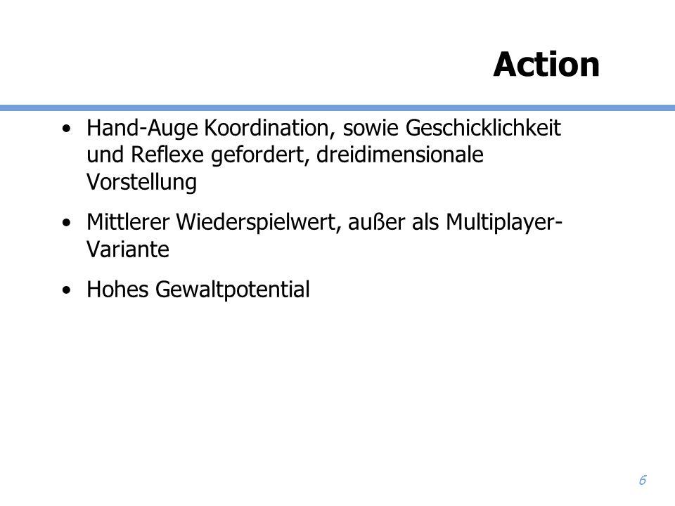 Action Hand-Auge Koordination, sowie Geschicklichkeit und Reflexe gefordert, dreidimensionale Vorstellung.