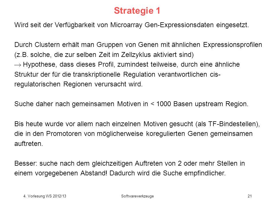 Strategie 1Wird seit der Verfügbarkeit von Microarray Gen-Expressionsdaten eingesetzt.