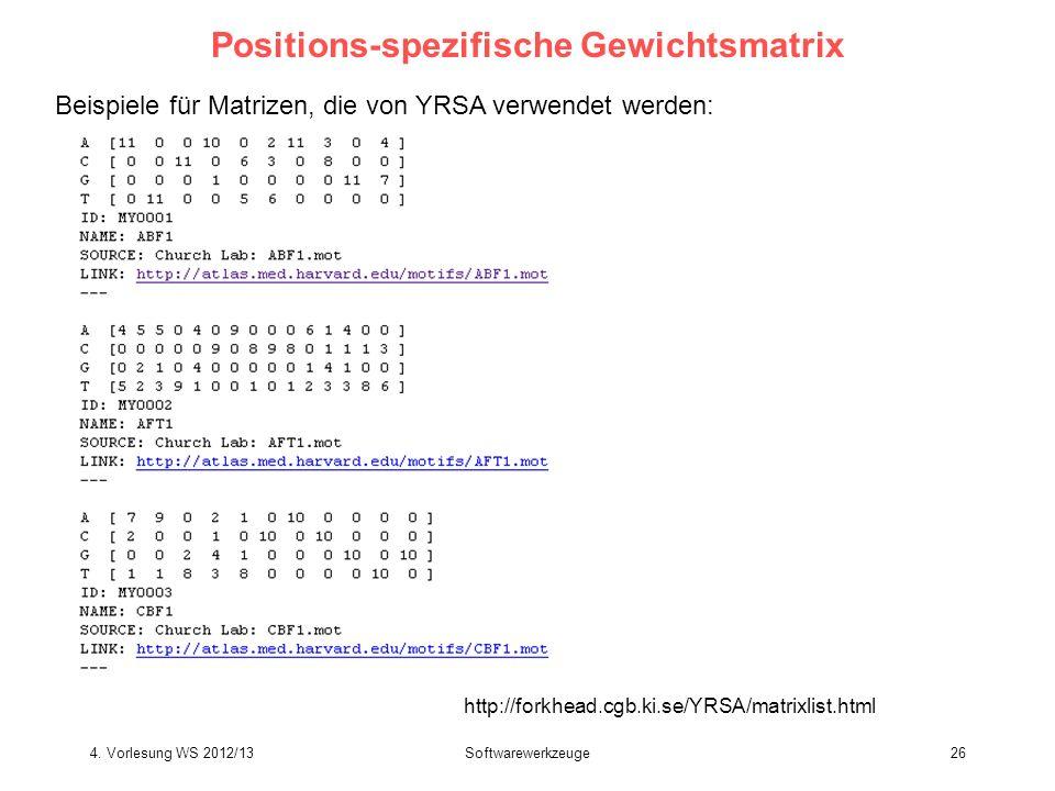 Positions-spezifische Gewichtsmatrix