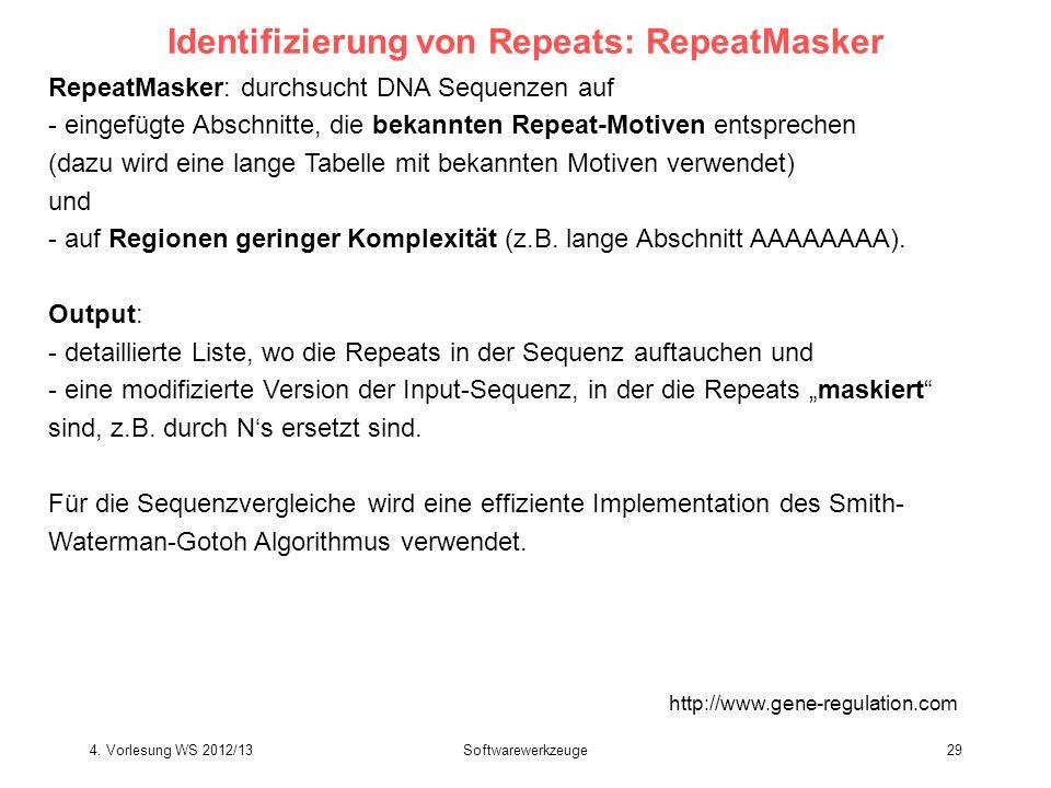 Identifizierung von Repeats: RepeatMasker