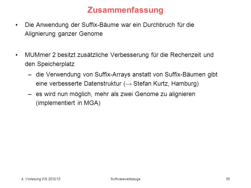 Zusammenfassung Die Anwendung der Suffix-Bäume war ein Durchbruch für die Alignierung ganzer Genome.