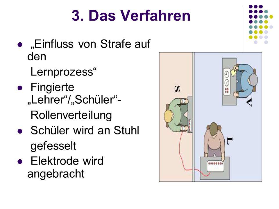 """3. Das Verfahren """"Einfluss von Strafe auf den Lernprozess"""