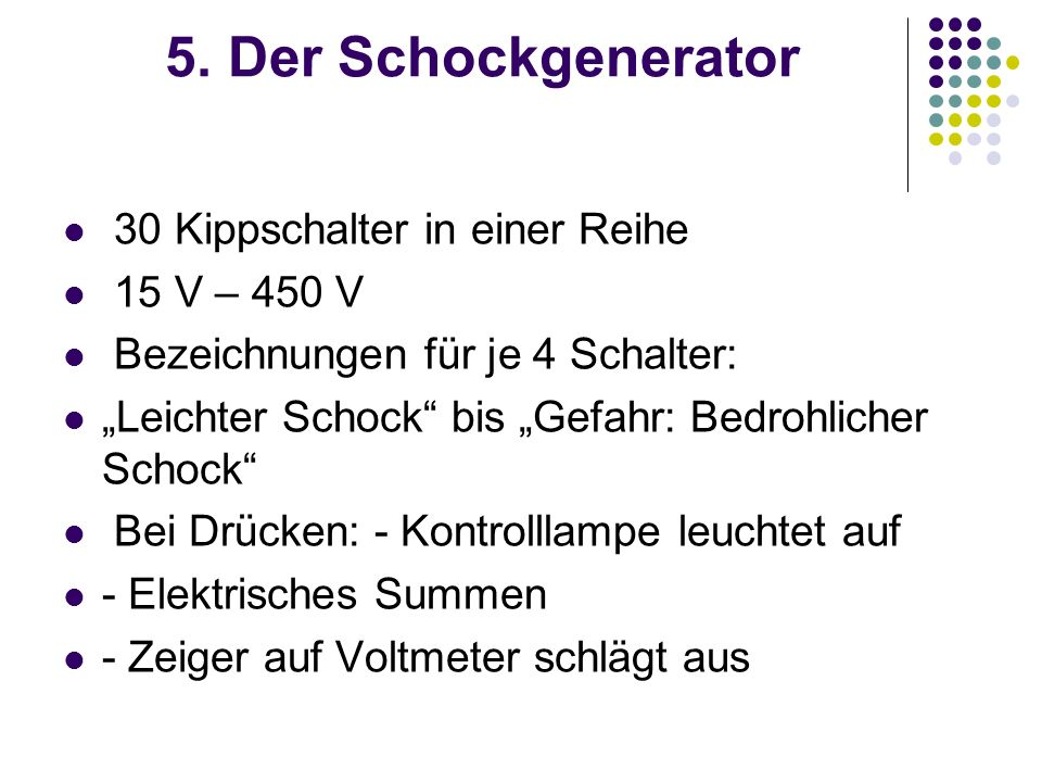 5. Der Schockgenerator 30 Kippschalter in einer Reihe 15 V – 450 V