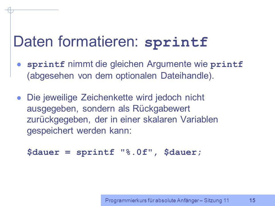 Daten formatieren: sprintf
