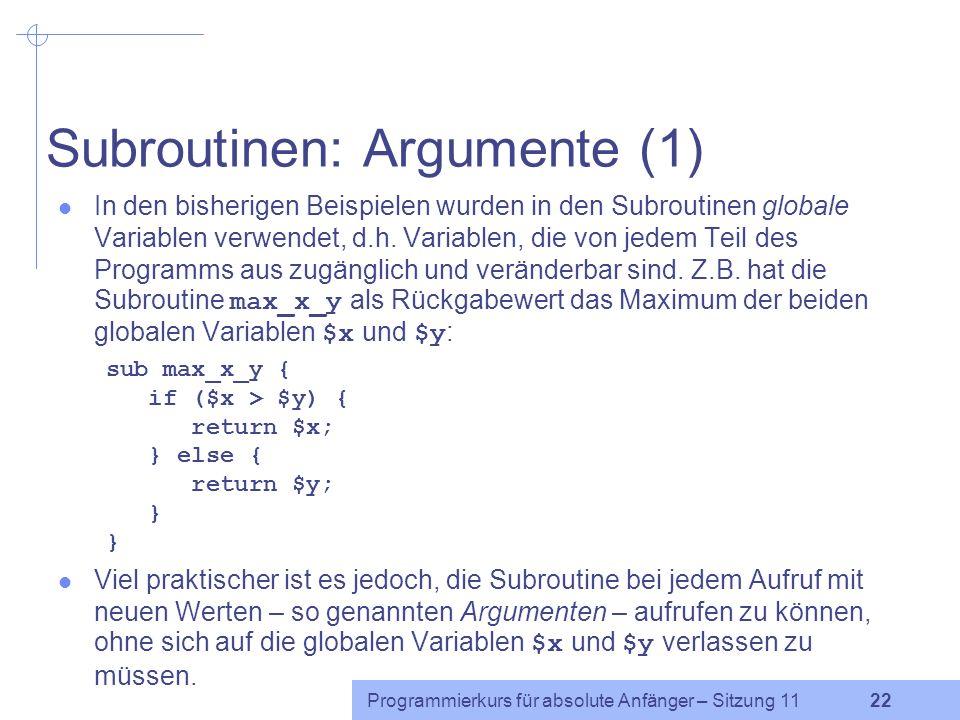 Subroutinen: Argumente (1)