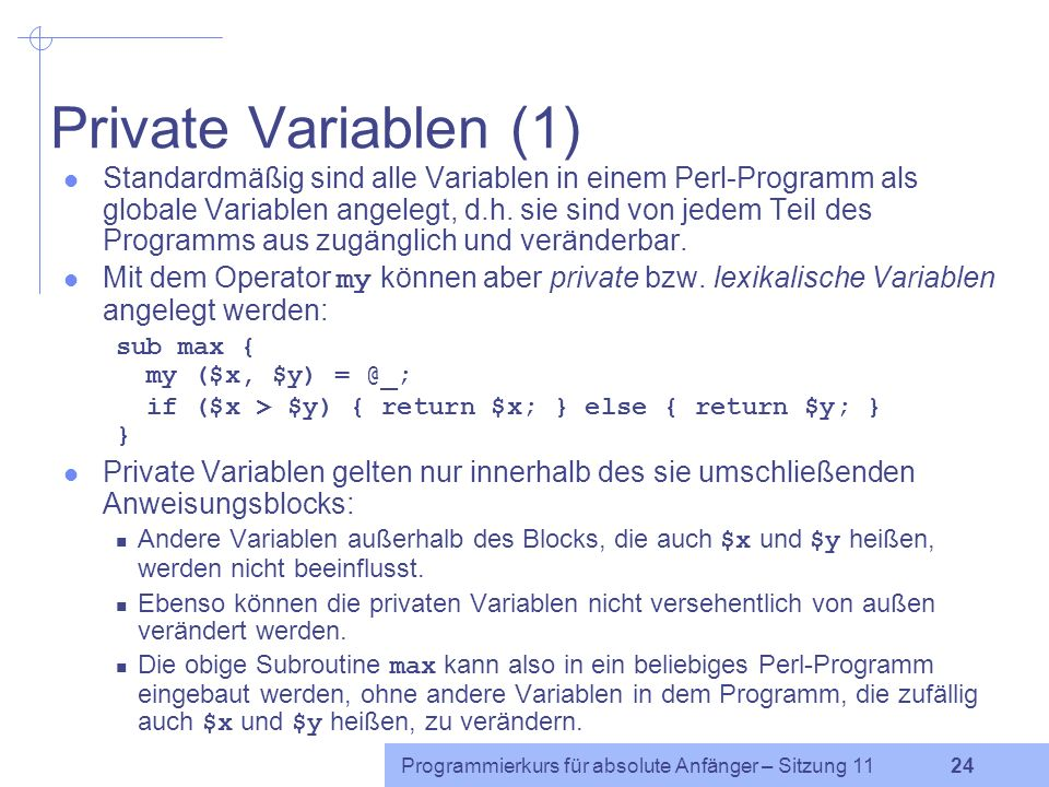 Private Variablen (1)