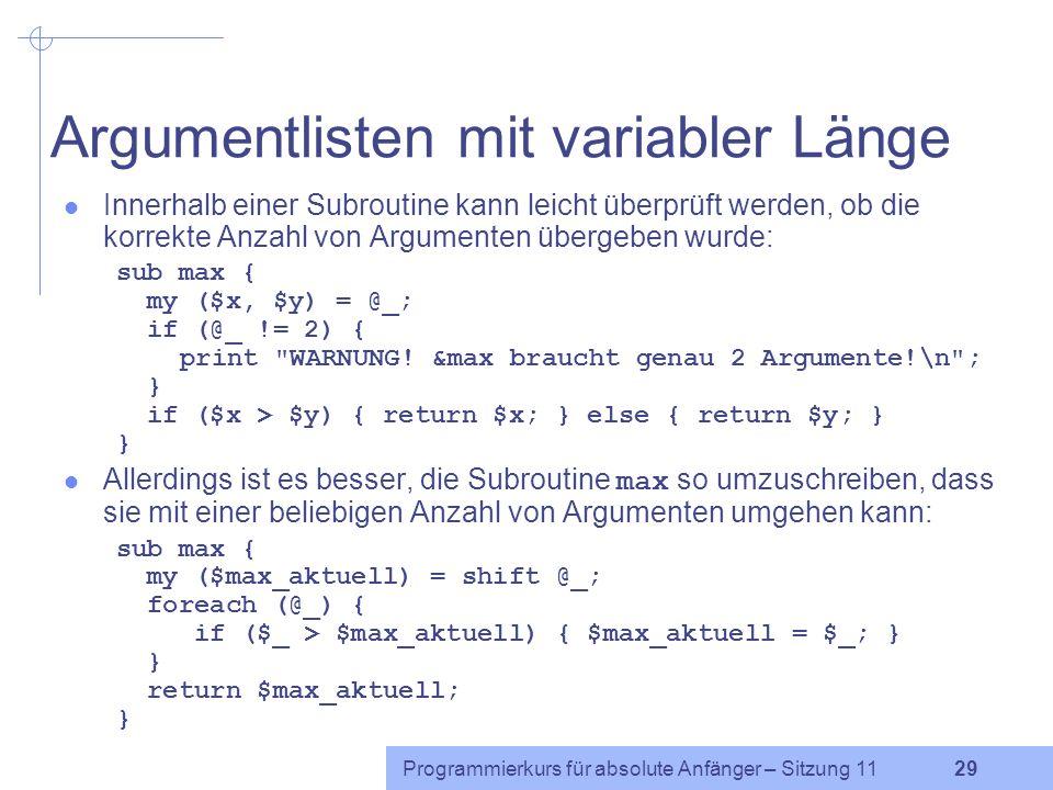Argumentlisten mit variabler Länge