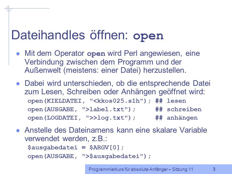 Dateihandles öffnen: open