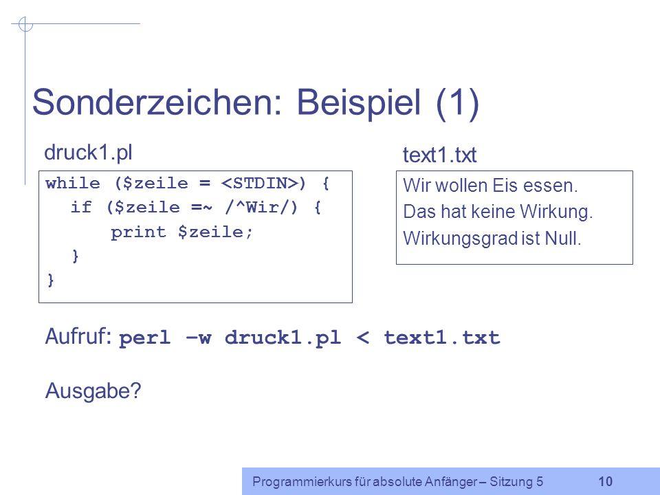 Sonderzeichen: Beispiel (1)