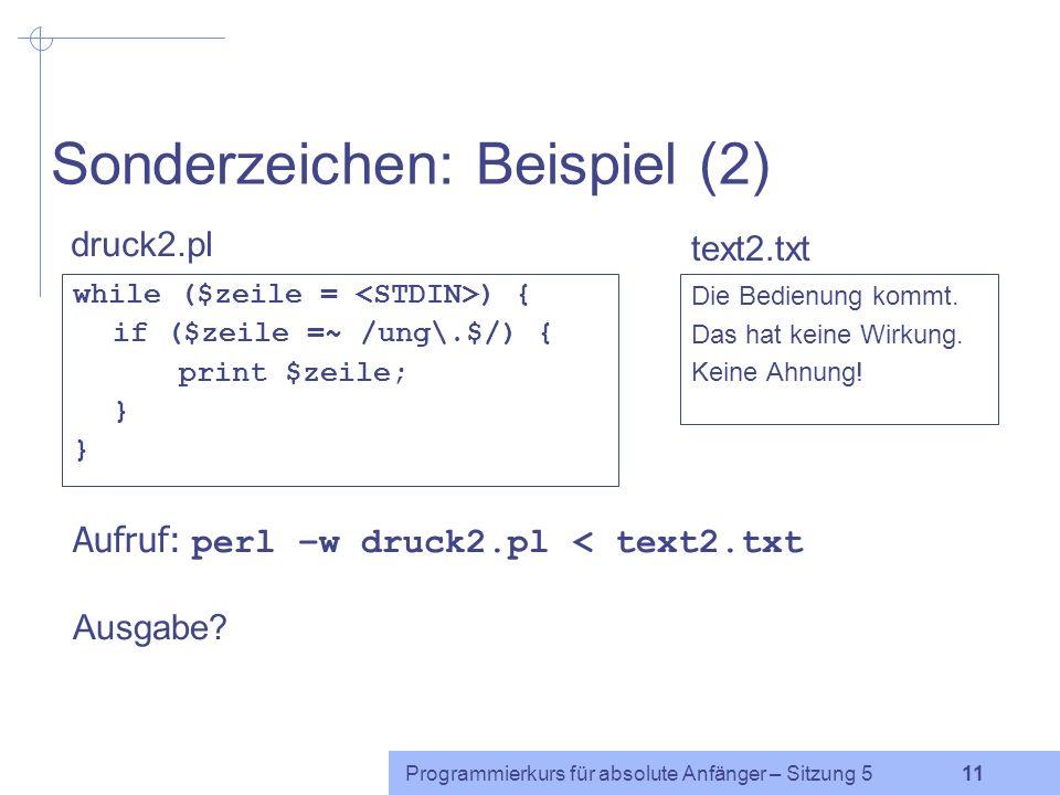 Sonderzeichen: Beispiel (2)