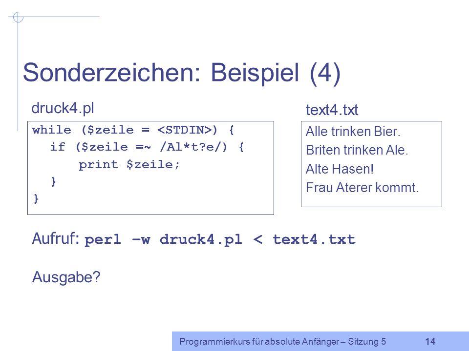Sonderzeichen: Beispiel (4)