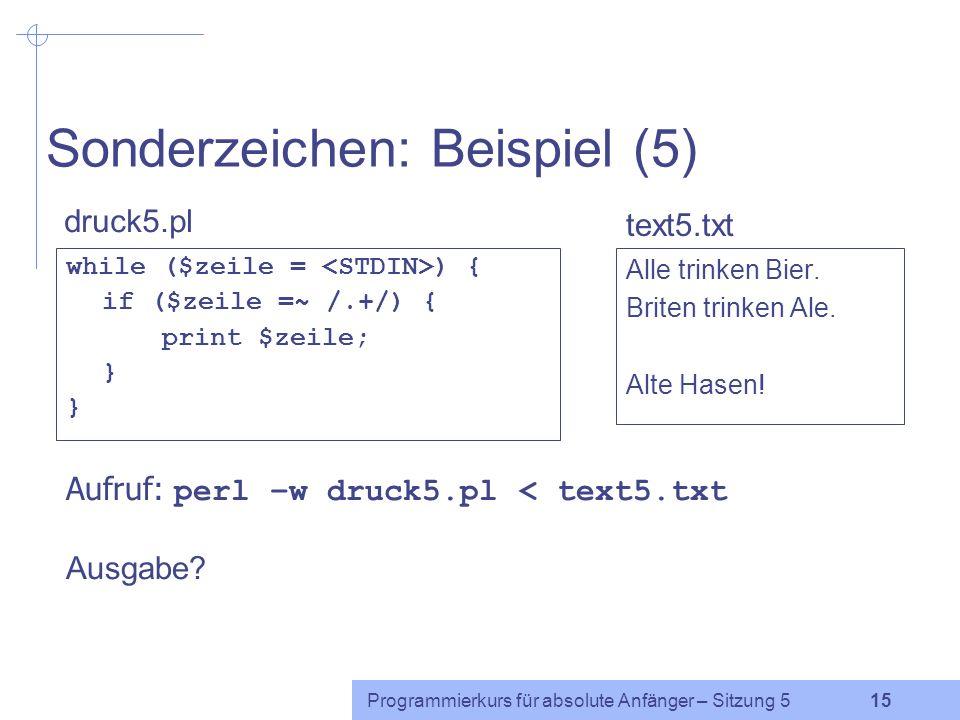 Sonderzeichen: Beispiel (5)