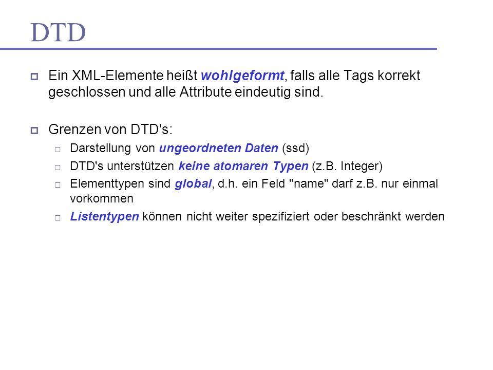 DTD Ein XML-Elemente heißt wohlgeformt, falls alle Tags korrekt geschlossen und alle Attribute eindeutig sind.