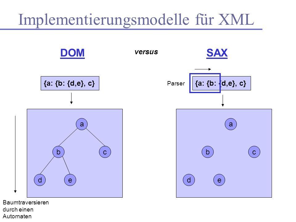 Implementierungsmodelle für XML