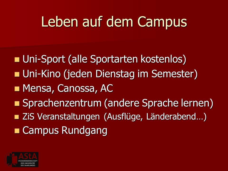 Leben auf dem Campus Uni-Sport (alle Sportarten kostenlos)