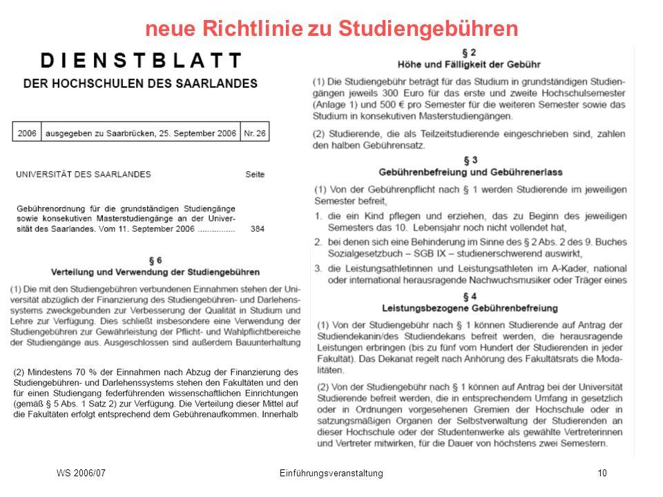neue Richtlinie zu Studiengebühren