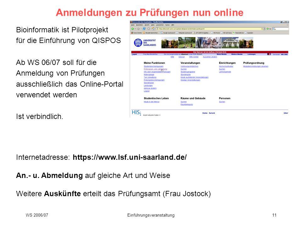 Anmeldungen zu Prüfungen nun online