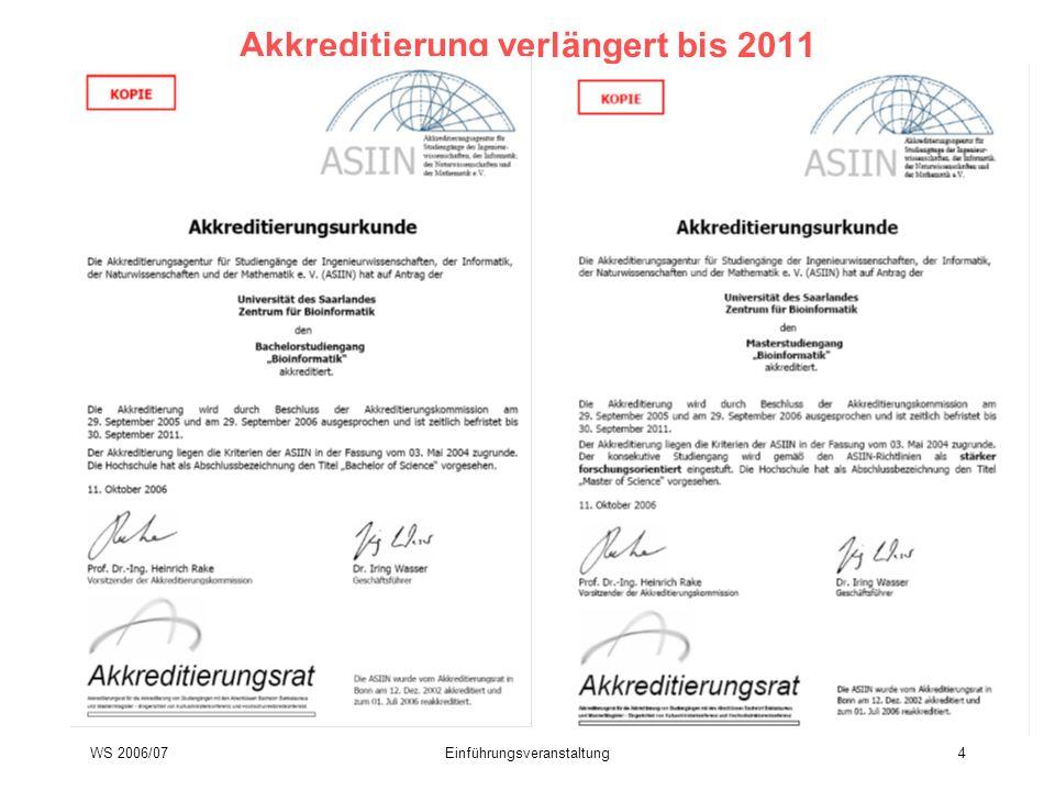 Akkreditierung verlängert bis 2011