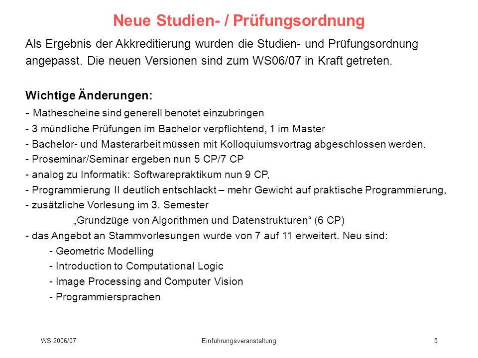 Neue Studien- / Prüfungsordnung