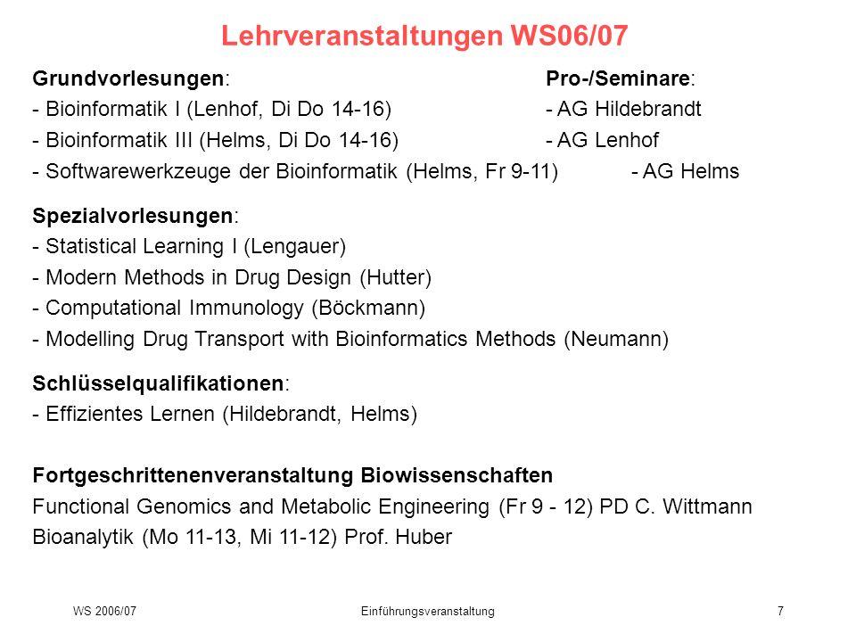 Lehrveranstaltungen WS06/07