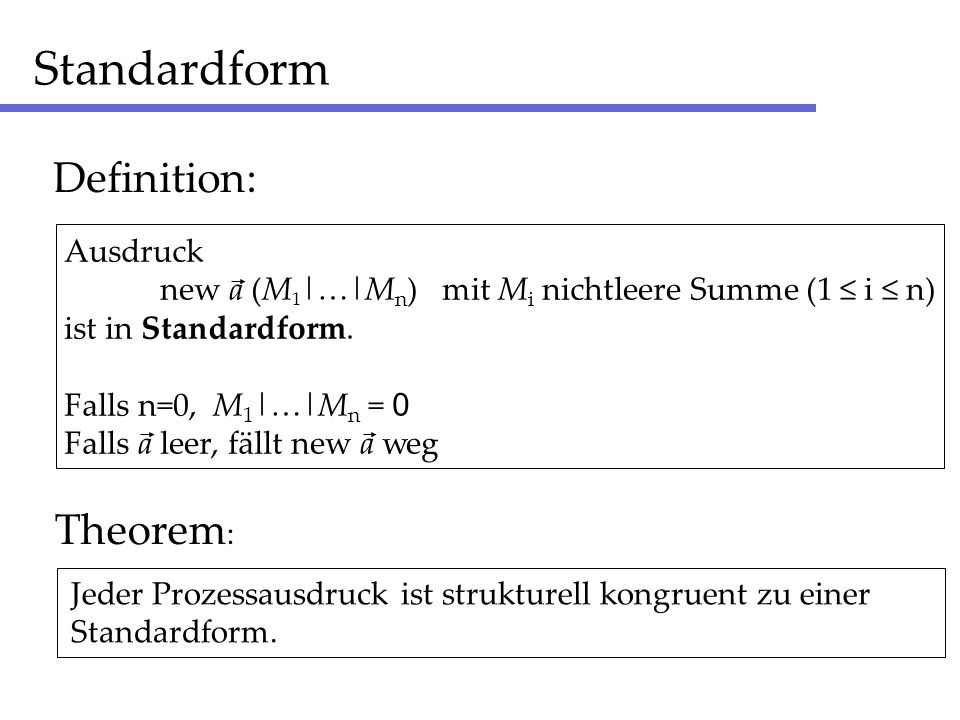 Standardform Definition: Theorem: Ausdruck
