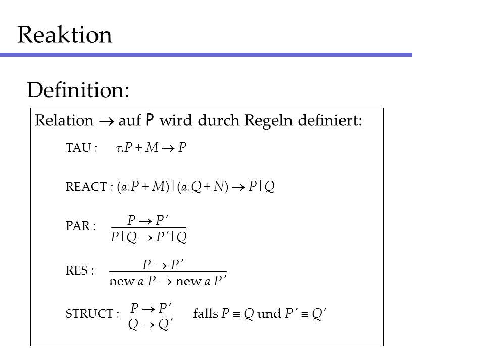 Reaktion Definition: Relation  auf P wird durch Regeln definiert:
