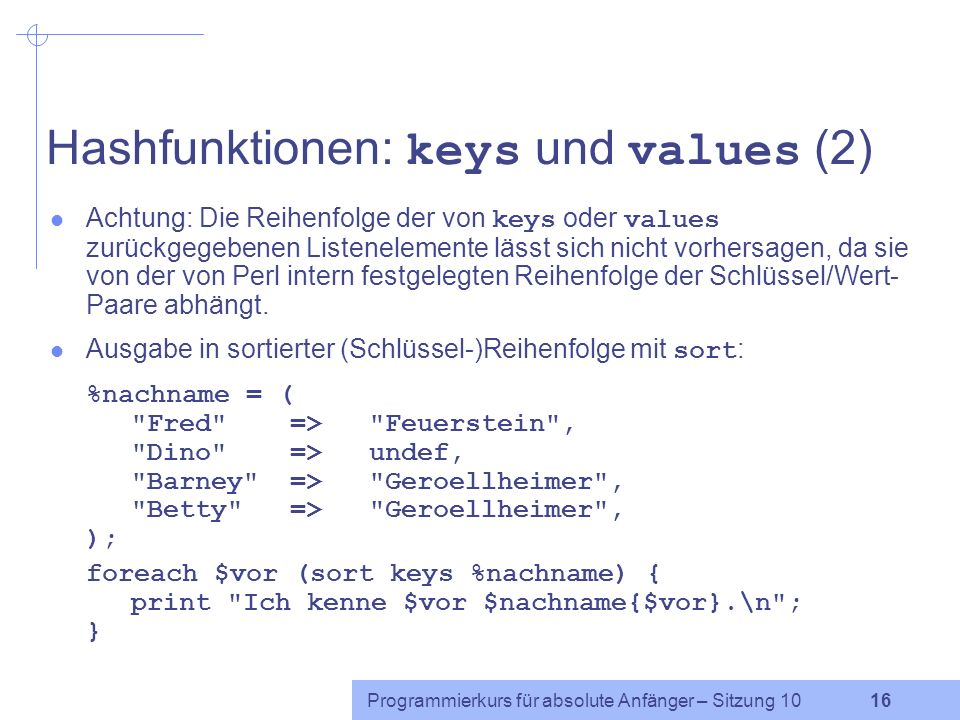 Hashfunktionen: keys und values (2)