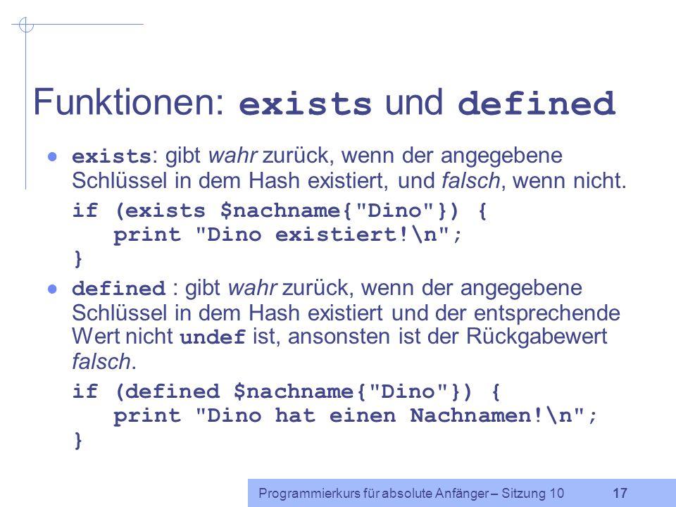 Funktionen: exists und defined