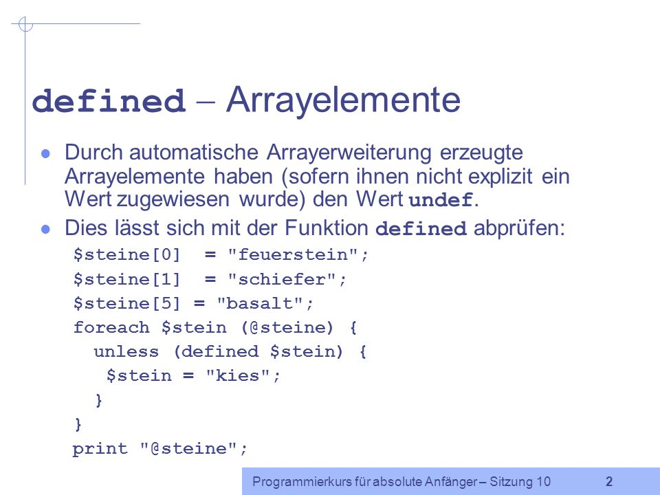 defined  Arrayelemente