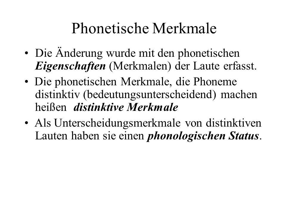 Phonetische Merkmale Die Änderung wurde mit den phonetischen Eigenschaften (Merkmalen) der Laute erfasst.