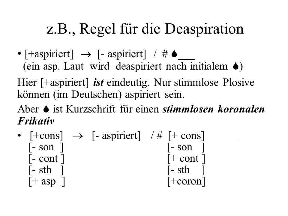 z.B., Regel für die Deaspiration