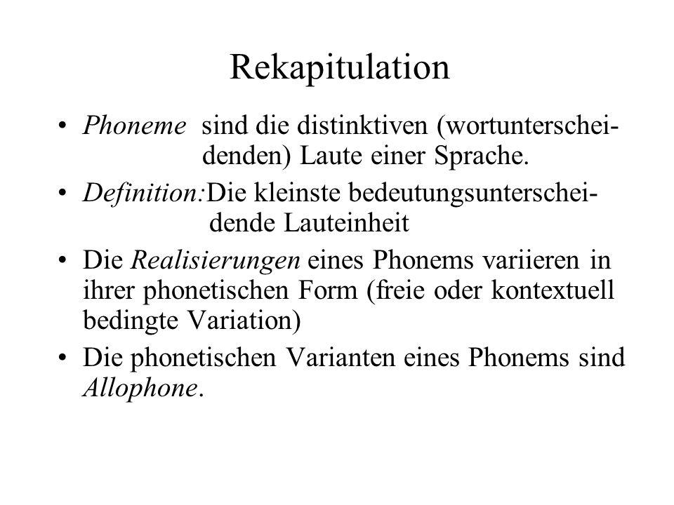 Rekapitulation Phoneme sind die distinktiven (wortunterschei- denden) Laute einer Sprache.
