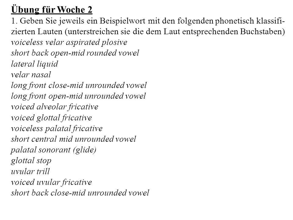 Übung für Woche 2
