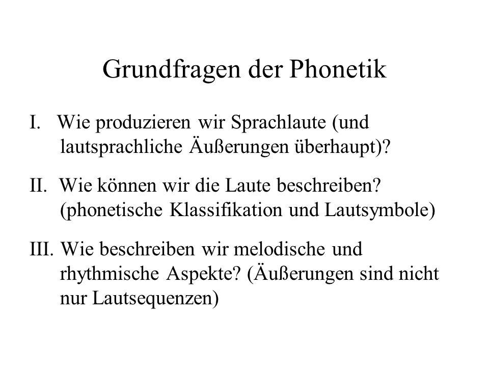 Grundfragen der Phonetik