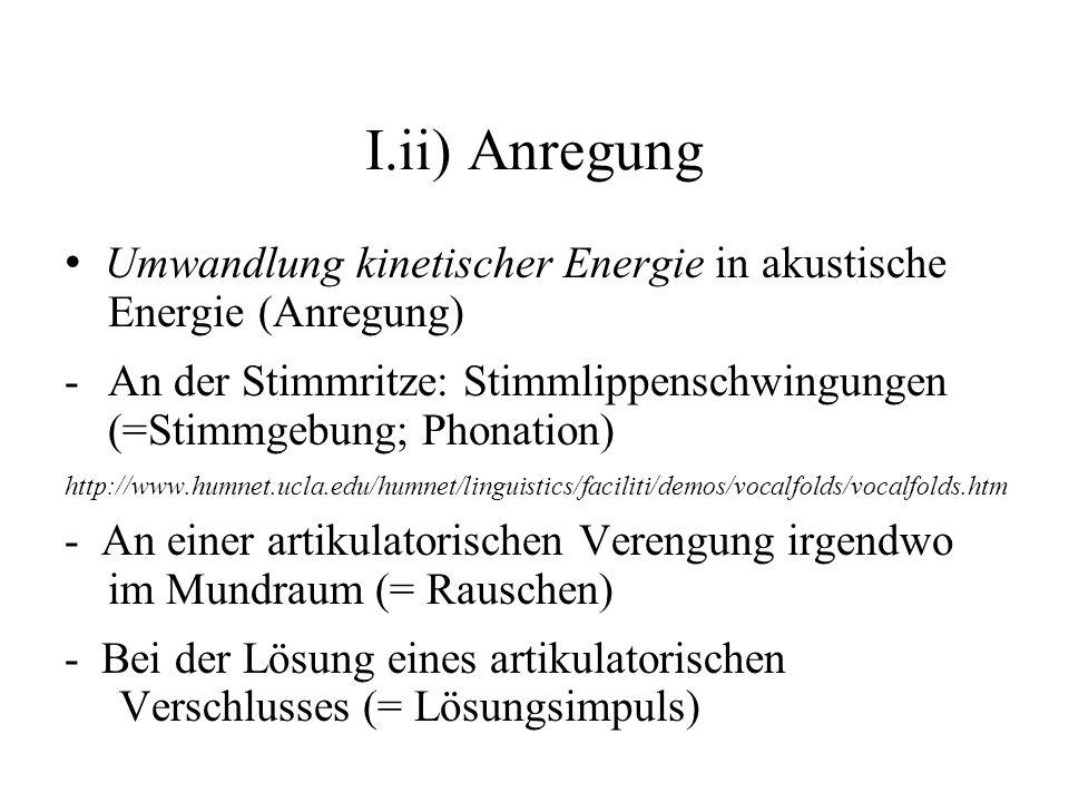 I.ii) Anregung • Umwandlung kinetischer Energie in akustische Energie (Anregung)