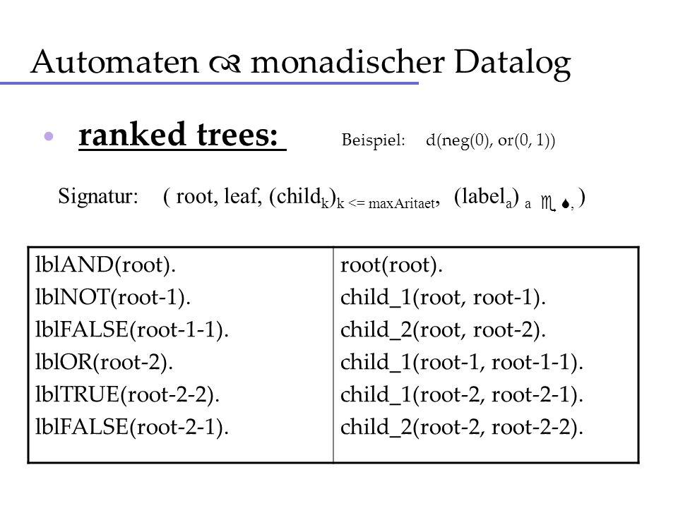 Automaten  monadischer Datalog