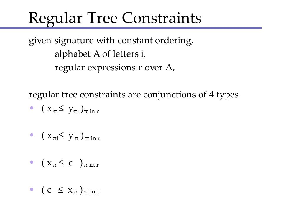 Regular Tree Constraints