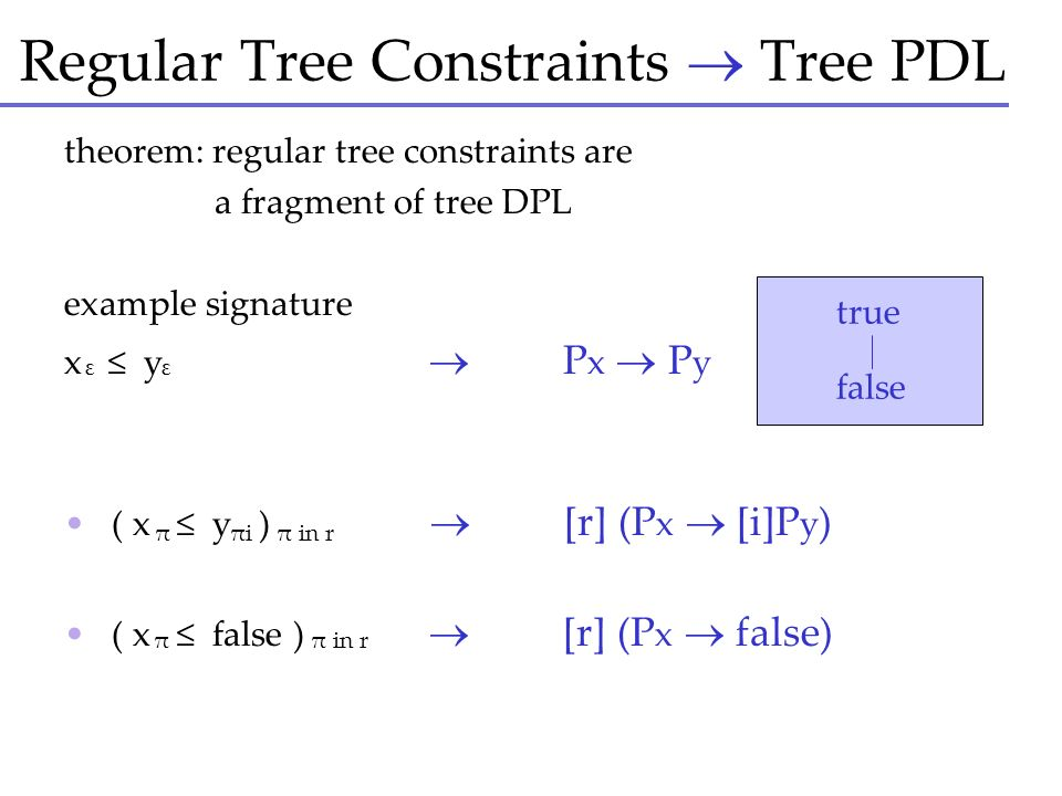 Regular Tree Constraints  Tree PDL