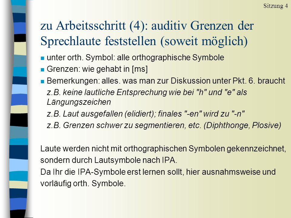 Sitzung 4 zu Arbeitsschritt (4): auditiv Grenzen der Sprechlaute feststellen (soweit möglich) unter orth. Symbol: alle orthographische Symbole.