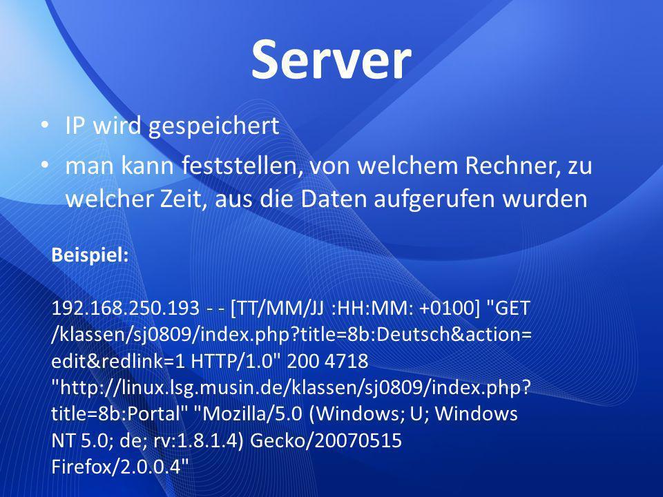 Server IP wird gespeichert