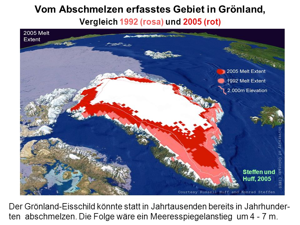 Vom Abschmelzen erfasstes Gebiet in Grönland, Vergleich 1992 (rosa) und 2005 (rot)