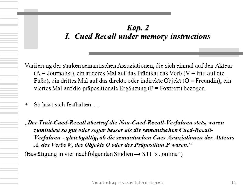 Kap. 2 I. Cued Recall under memory instructions