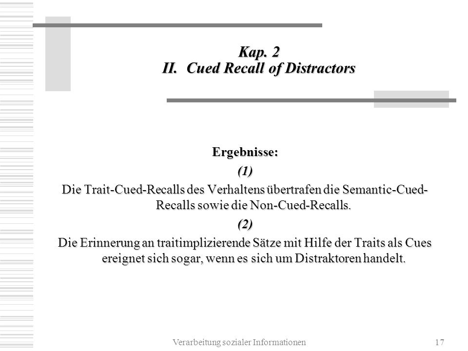 Kap. 2 II. Cued Recall of Distractors