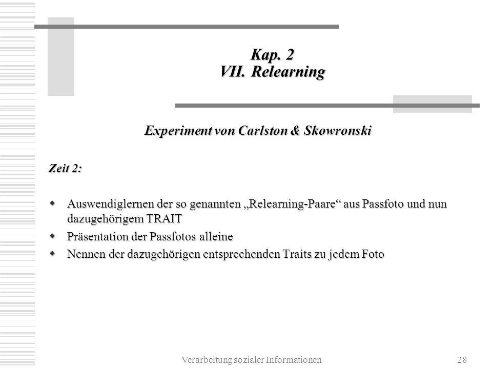 Experiment von Carlston & Skowronski