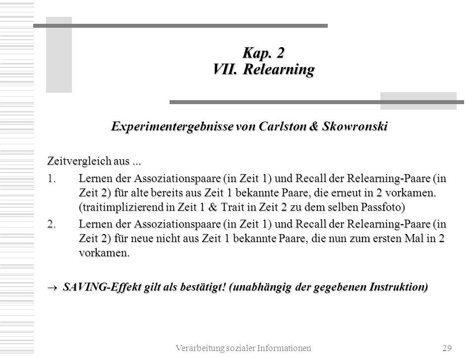 Experimentergebnisse von Carlston & Skowronski