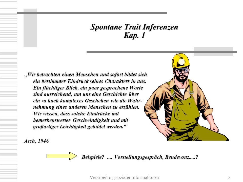 Spontane Trait Inferenzen Kap. 1